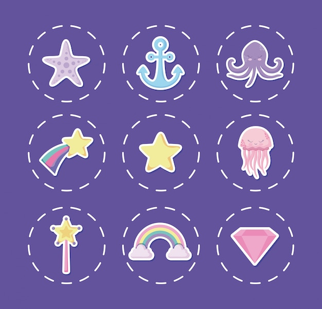 Cute octopus with set icons