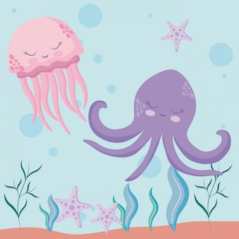 Cute octopuses with starfish avatar character