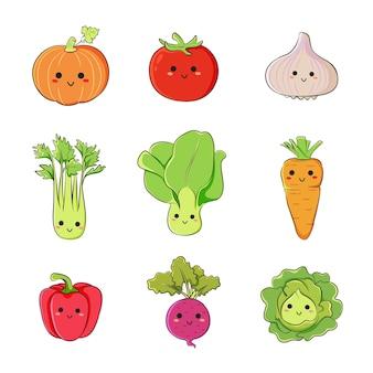 만화 스타일의 귀여운 야채 스티커