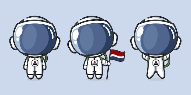 우주복과 우주 비행사 캐릭터의 귀여운 흰색 배경에