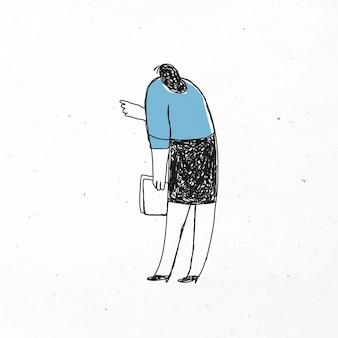 Милая офисная женщина, держащая бумаги каракули значок
