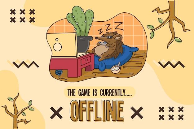 Cute offline banner with hedgehog illustration