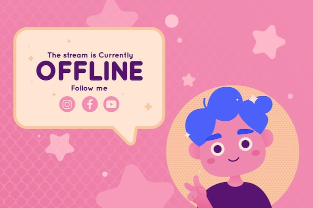 Cute offline template for twitch banner
