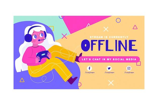 Concetto di banner twitch offline carino