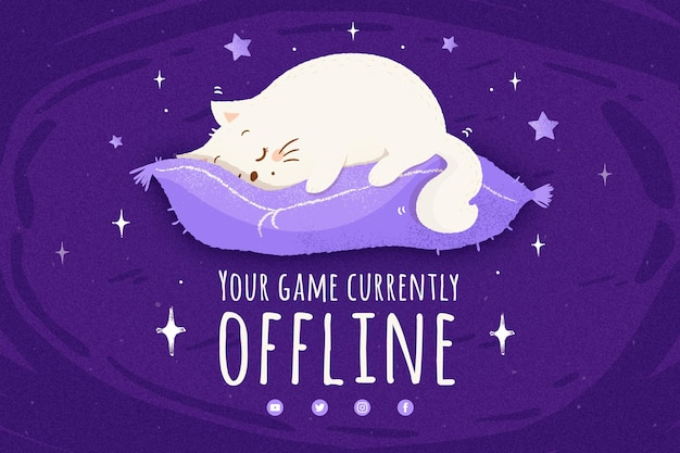 Cute offline twitch banner template
