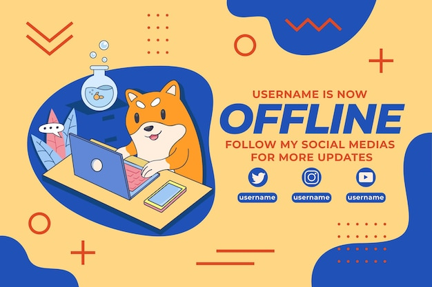 Cute offline twitch banner with dog illustration