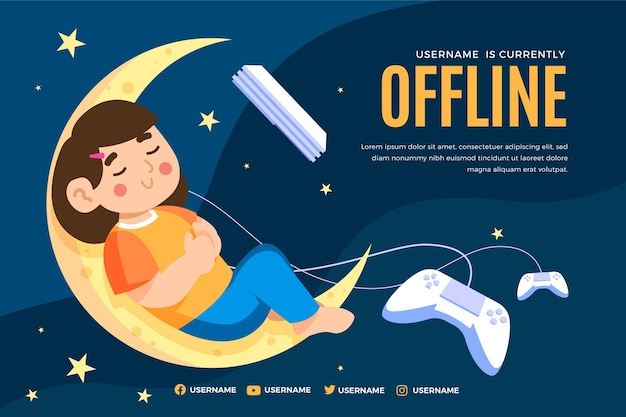 Cute offline twitch banner with girl sleeping