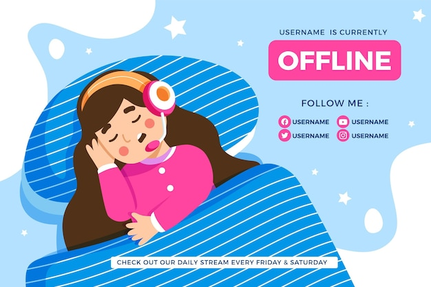 Cute offline twitch banner with girl