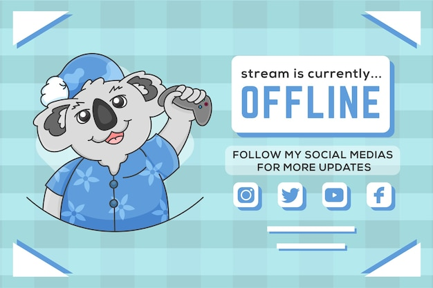 Cute offline twitch banner with koala illustration
