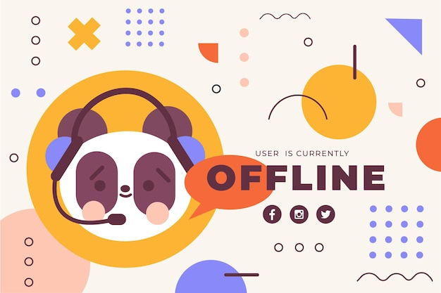 Cute offline twitch banner with panda bear
