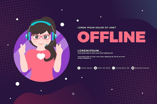 Cute offline twitch banner