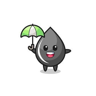 Cute oil drop illustration holding an umbrella , cute style design for t shirt, sticker, logo element