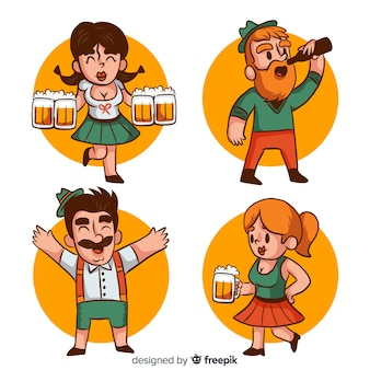 Cute oktoberfest character collection