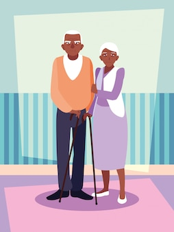Cute old couple afro avatar character