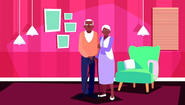 Cute old couple afro in house inside