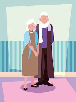 Cute old couple avatar character