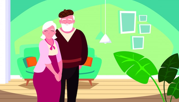 Cute old couple in house inside scene