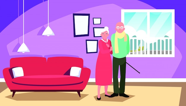 Cute old couple in house inside scene