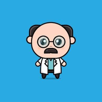 귀여운 늙은 의사 캐릭터 일러스트