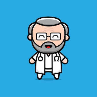 Cute old doctor character illustration