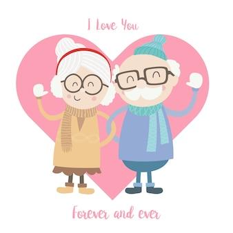 겨울 양복을 입고 귀여운 노인과 여성 커플