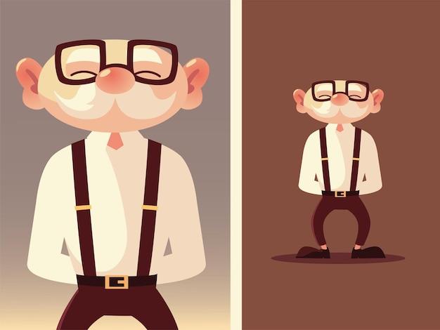 Милый старик старший мультфильм в очках и подтяжках