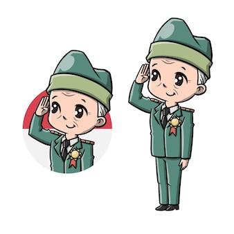 Cute old man veteran cartoon Premium Vector