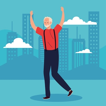 Cute old man with hands up celebrating illustration