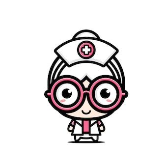 귀여운 늙은 간호사 캐릭터 디자인