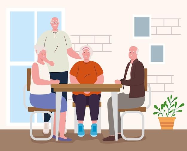 집에서 활동을하는 귀여운 노인