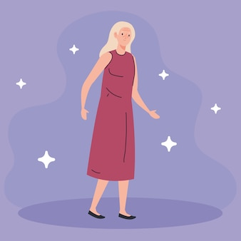 Cute old woman on purple background illustration