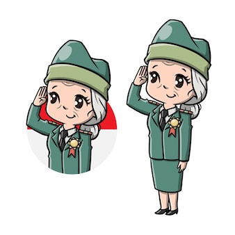 Cute old women veteran cartoon