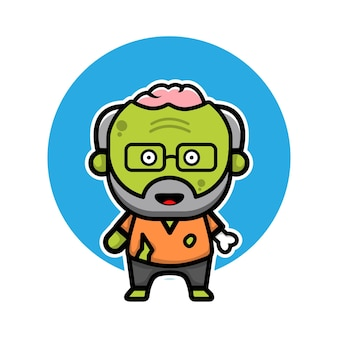 Cute old zombie cartoon illustration halloween concept character