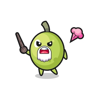Cute olive grandpa is getting angry , cute style design for t shirt, sticker, logo element