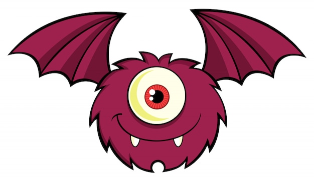 Cute one eyed monster cartoon character flying