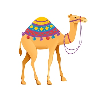 고삐와 안장 만화 동물 디자인 평면 벡터 일러스트 레이 션 흰색 배경에 고립 된 귀여운 혹 낙타.