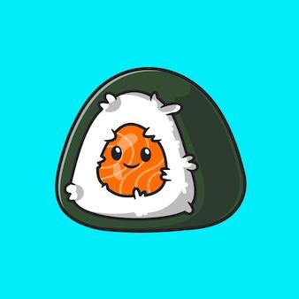 귀여운 주먹밥 스시 만화 벡터 아이콘 그림입니다. 음식 개체 아이콘 개념 절연 프리미엄 벡터입니다. 플랫 만화 스타일