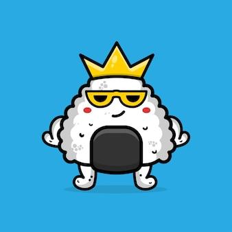 Cute onigiri with crown cartoon illustration