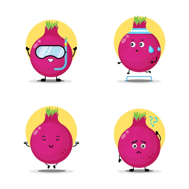 Cute onion character set collection