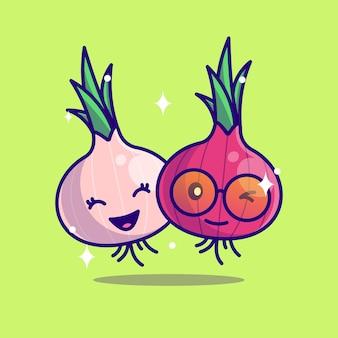 Cute onion mascot icon vector illustration flat cartoon concept