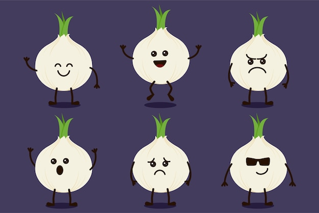 Cute onion vegetable character isolated in multiple expressions
