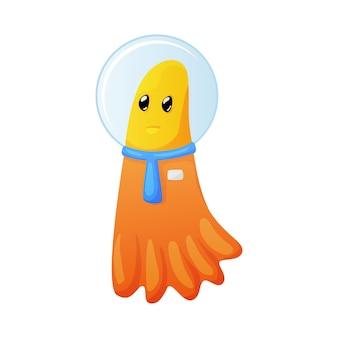 우주복 만화를 입고 귀여운 오렌지 외계인