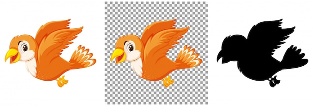 Cute orange bird cartoon character