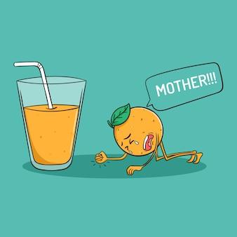 Милый оранжевый мультипликационный персонаж плачет за апельсиновый сок в стиле каракули
