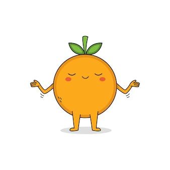 気にしないかわいいオレンジ色の漫画のキャラクター