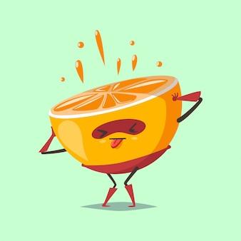 スーパーヒーローの衣装とマスクのフルーツのかわいいオレンジの漫画のキャラクターは、フレッシュジュースを絞り出します。健康的な食事とライフスタイルの概念図。