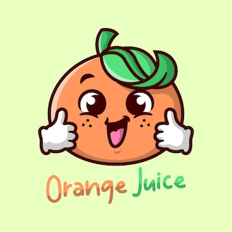 Cute orange cartoon mascot is smiling and bringing a cup of orange juice