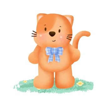 수채화 스타일에 귀여운 주황색 고양이 카드.