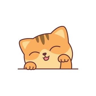 Cute orange cat cartoon, vector illustration