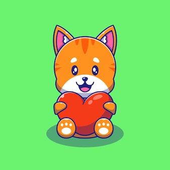 Cute orange cat holding love heart illustration. cat animals mascot cartoon characters.
